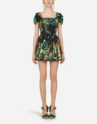 Dolce & Gabbana Short Poplin Dress With Jungle Print