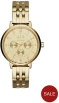 Armani Exchange Gold Tone Multi Dial Stainless Steel Bracelet Ladies Watch