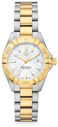 Tag Heuer Aquaracer Lady Stainless Steel, Yellow Goldplated & Mother-of-Pearl Quartz Bracelet Watch