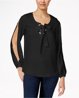 XOXO Juniors' Lace-Up Cold-Shoulder Blouse