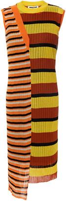 McQ Paneled Striped Ribbed-knit Dress