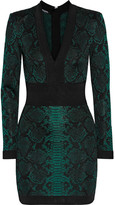 Balmain Jacquard-knit Mini Dress - Emerald
