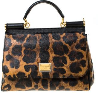 Dolce & Gabbana Leopard Print Leather Medium Miss Sicily Top Handle Bag