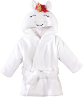 Hudson Baby Girls' Bath Robes Christmas - White Unicorn Hooded Bathrobe - Newborn