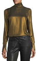 Frame Turtleneck Long-Sleeve Metallic Blouse