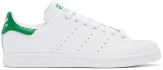 adidas White and Green Stan Smith Sneakers
