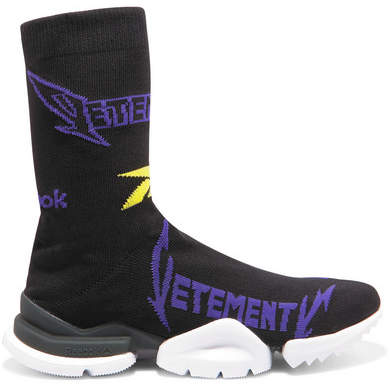 Vetements + Reebok Metal Logo-jacquard Stretch-knit Sneakers