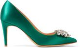 Rupert Sanderson Jewel Blair Crystal-embellished Satin Pumps - Emerald