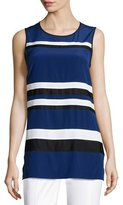 St. John Striped Crepe de Chine Sleeveless Tunic, Vivid Denim/Multi