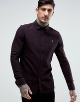 Farah Shirt With Textured Weave In Slim Fit Port
