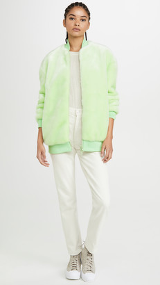 Tibi Zip Up Faux Fur Jacket
