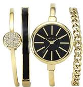 Anne Klein Women's Quartz Watch with Black Dial Analogue Display and Gold Stainless Steel Bangle AK/N1470GBST