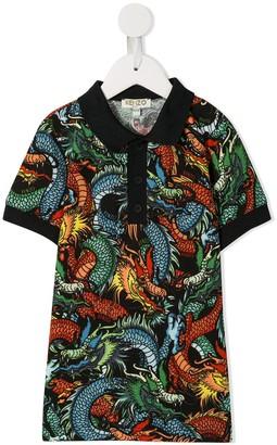 Kenzo dragon print polo shirt
