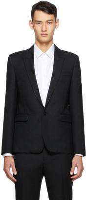 Saint Laurent Black Leather Piping Short Blazer