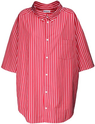Balenciaga Over Striped Cotton Poplin Shirt W/Logo
