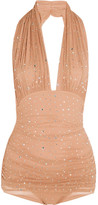 Norma Kamali Bill Embellished Ruched Stretch-tulle Halterneck Swimsuit - Camel