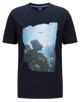 HUGO BOSS Cotton T Shirt With Coastal Graphic Print - Dark Blue