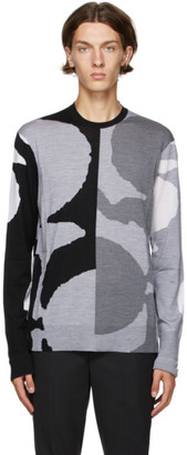 Neil Barrett Black and Grey Patch Sweater
