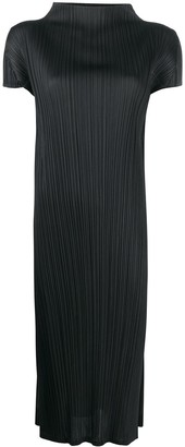 Pleats Please Issey Miyake Funnel-Neck Pleated Midi Dress