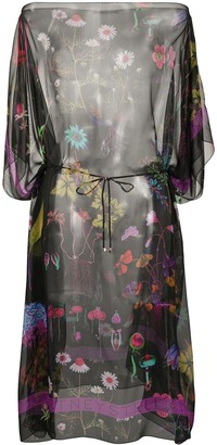 Stella McCartney Sheer Belted Floral Print Dress