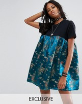 Reclaimed Vintage Inspired Festival T-Shirt Dress With Brocade Panel