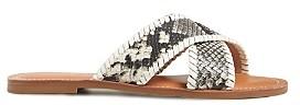 Jack Rogers Women's Sloane Criss Cross Snake Embossed Leather Sandals