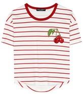 Dolce & Gabbana Striped cotton T-shirt with appliqué