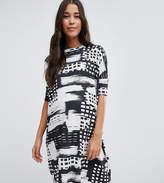 Asos T-Shirt Dress in Abstract Mono Stripe