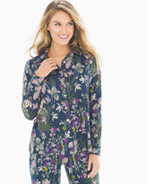 Soma Intimates Cool Nights Long Sleeve Notch Collar Pajama Top Fine Foliage Ink