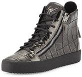 Giuseppe Zanotti Men's Crocodile-Embossed Leather High-Top Sneaker, Pewter