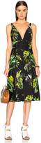 Proenza Schouler Printed Satin V Neck Long Dress with Slits