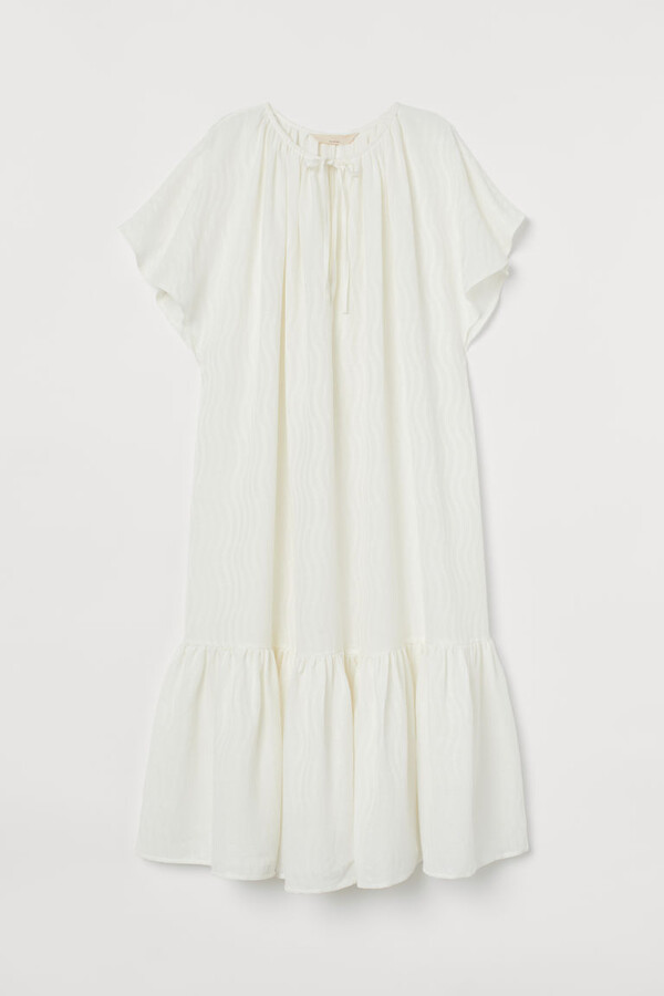 H&M Silk-blend Dress - White
