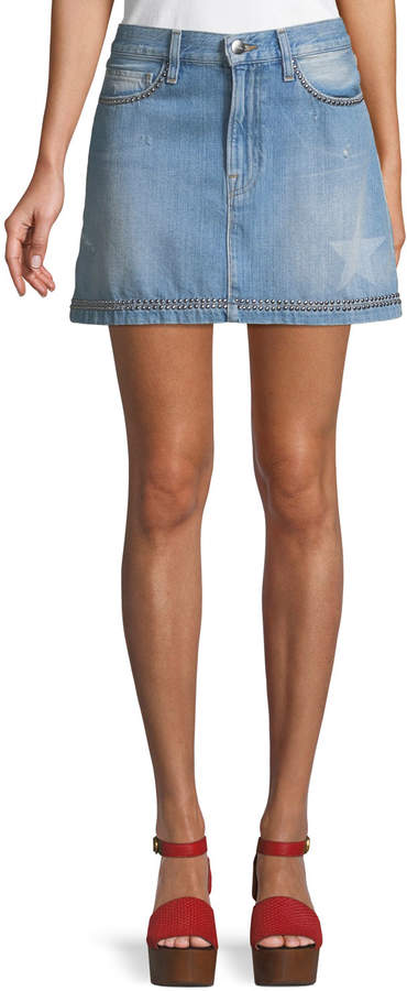Frame Le Mini Studded Denim Skirt