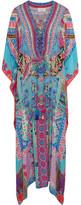 Camilla Crystal-embellished Printed Silk Crepe De Chine Kaftan - Blue
