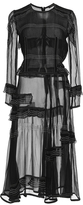 Burberry Luggage Stitched Silk Ruffle Dress