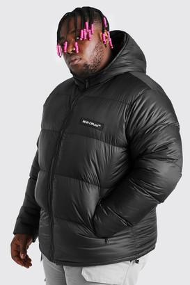 boohoo Mens Black Plus Size MAN Branded Hand Filled Puffer, Black