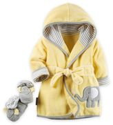 Carter's 2-Piece Elephant Robe and Booties Set in Yellow/Grey