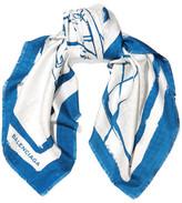 Balenciaga Printed Silk-jacquard Scarf - Blue