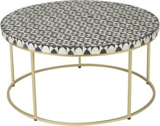 Ruby Star Zelda Round Bone Inlay Coffee Table Black And White