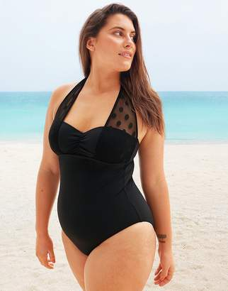 Figleaves Icon Spot Mesh Underwired Shaping Halter Black Swimsuit D-G cup