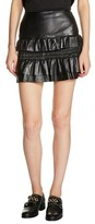 Maje Women's Ruffle Leather Miniskirt