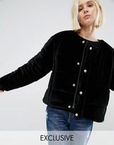 Puffa Oversized Collarless Padded Jacket In Velvet