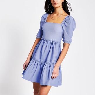 River Island Womens Blue square neck poplin mini smock dress