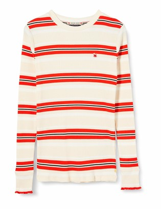 Scotch & Soda Girl's Striped L/s Tee with Ruffle at Bottom of Sleeve T-Shirt