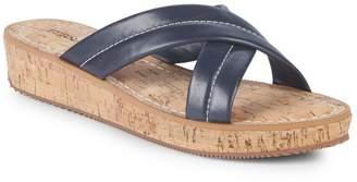 Bernardo Crisscross Leather Wedge Sandals