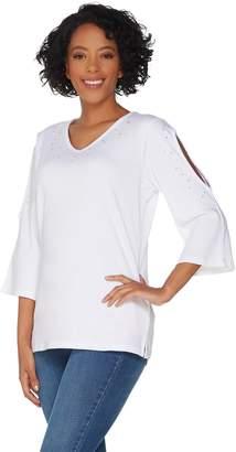 Factory Quacker Pearl and Shine V-Neck Split Sleeve Knit T-shirt