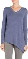 St. John Jersey Knit V-Neck Asymmetric Sweater