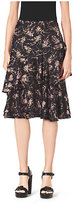 Michael Kors Elderflower-Print Tiered Ruffle Silk-Twill Skirt