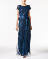 Adrianna Papell Damask Sequined Bow Sash Gown