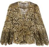 Roberto Cavalli Metallic Lace Jacket - Gold